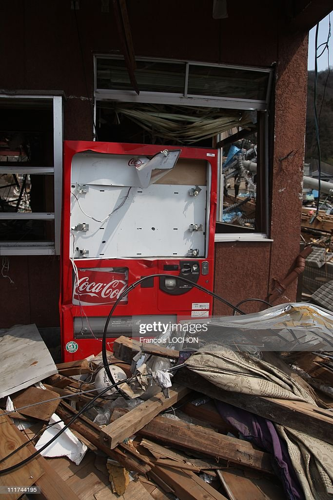 A drink vending machine is left in the rubble destroyed by the earthquake on April 4,2011,in Kamaishi, Japan. These objects are from the 30 000 victims of the earthquake that hit Japan on March 11, 2011 followed by an tsunami.