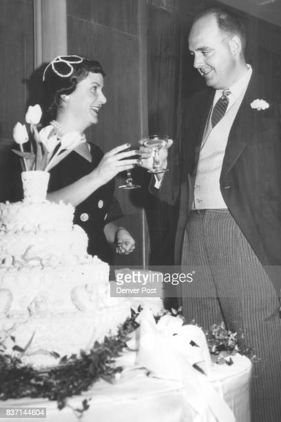 Drinking a champagne toast during a recent wedding reception at the Denver country club are Mr and Mrs William DP Jr Credit Denver Post