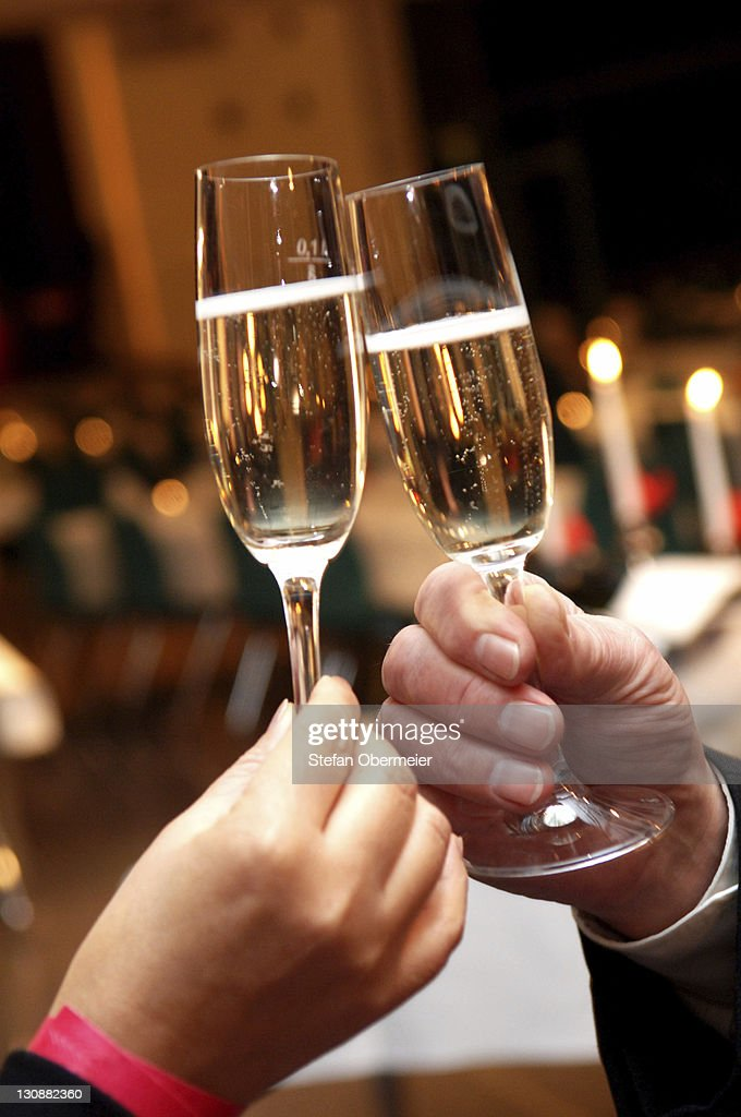 Drinking a toast with glasses of sparkling wine : Stock Photo