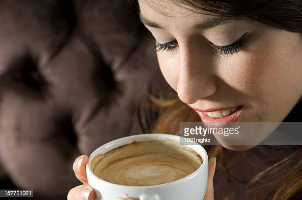 Drinking Cappuccino