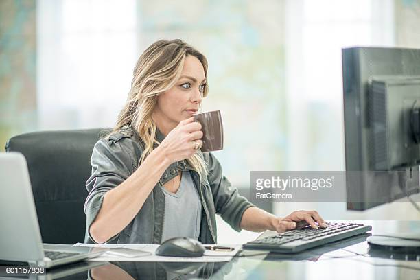 Drinking Coffee and Working From Home