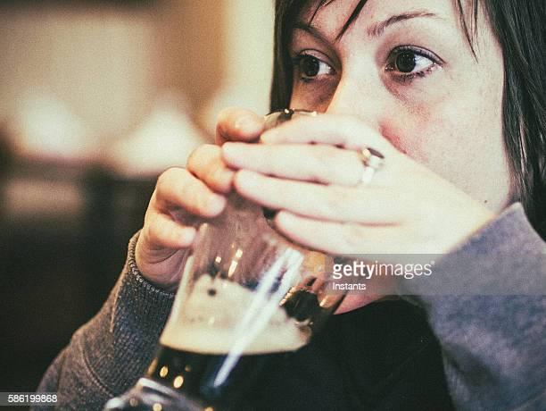 Drinking dark beer