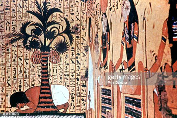 Drinking from the River temple wall painting Thebes Egypt