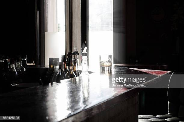Drinking Glass On Bar Counter