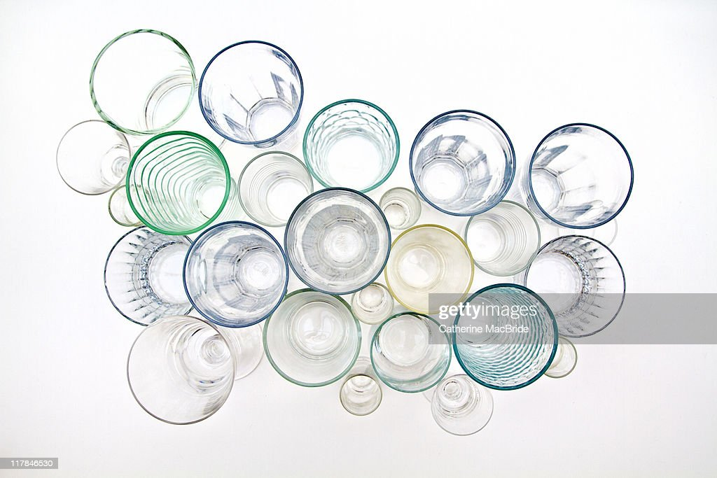Drinking glasses viewed from above : Stock Photo