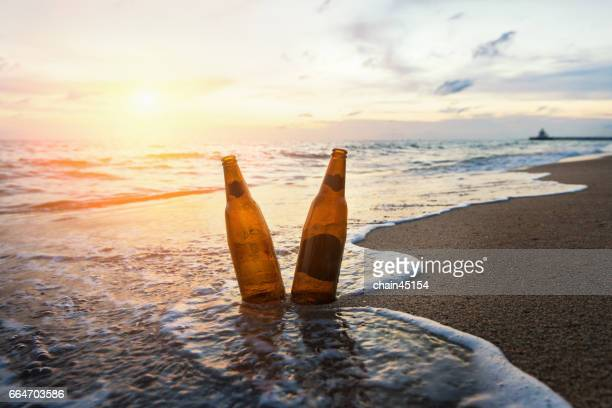 Drinking on the beach.