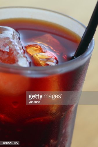 drinking straw  in Iced coffee : Stock Photo