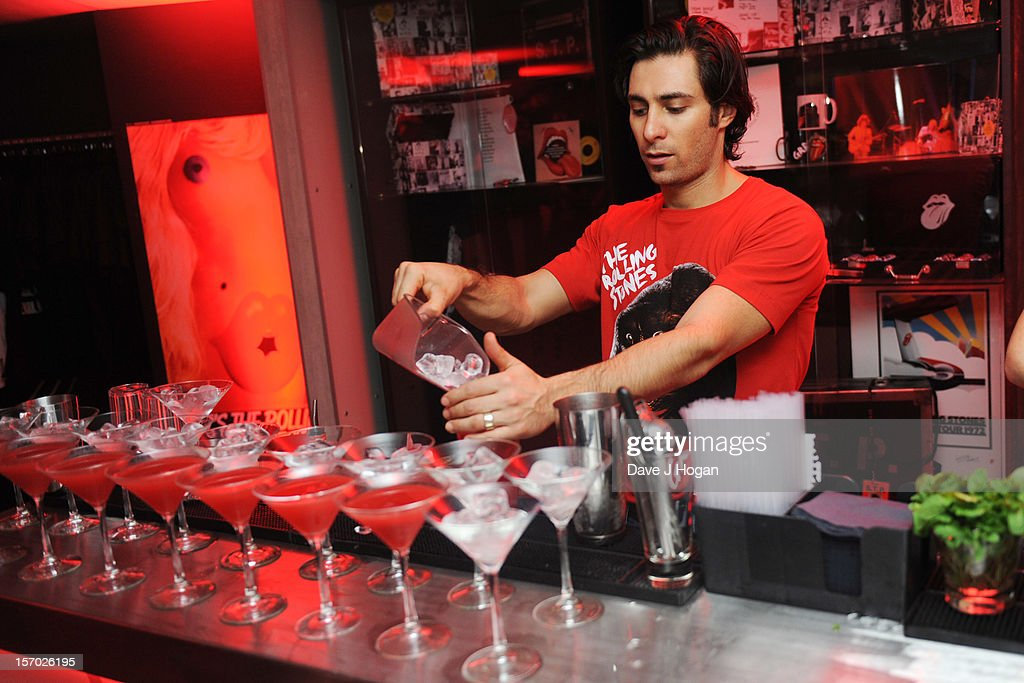Drinks being served at the opening party for the Rolling Stones pop up shop on Caranaby Street on November 27, 2012 in London, England.