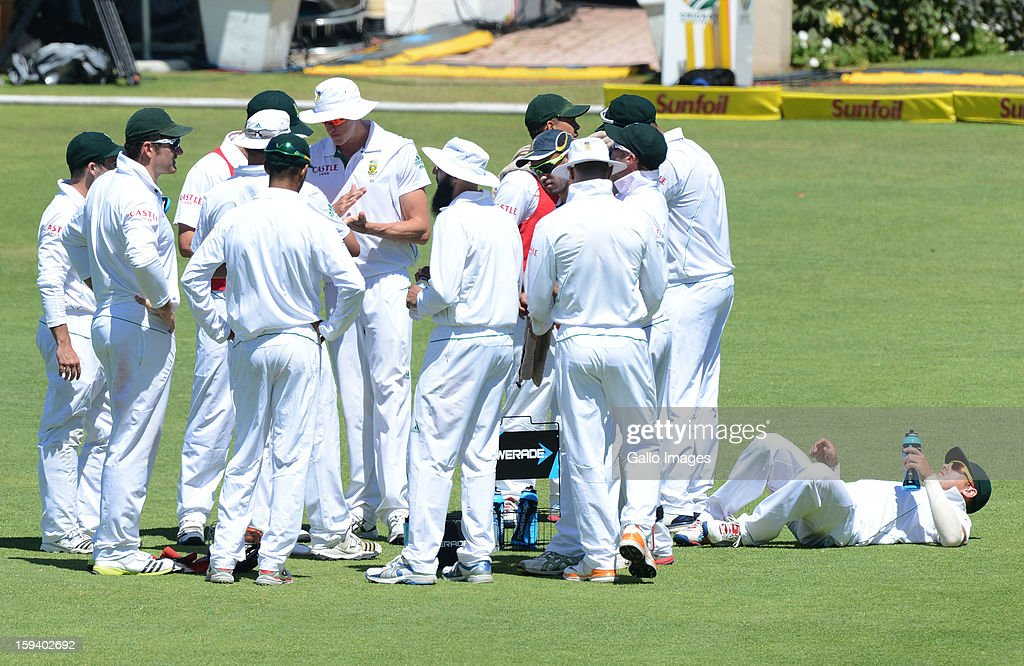 AFRICA - JANUARY 13, Drinks break during day 3 of the 2nd Test match between South Africa and New Zealand at Axxess St Georges on January 13, 2013 in Port Elizabeth, South Africa.