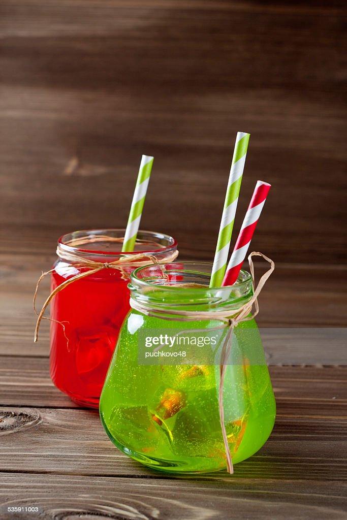 Drinks in Mason Jar : Stock Photo