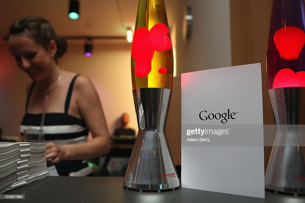 A drinks menu with the Google logo sits between two lava lamps on September 26, 2012 at the official opening party of the Google offices in Berlin, Germany. Although the American company holds 95% of the German search engine market share and already has offices in Hamburg and Munich, its new offices on the prestigious Unter den Linden avenue are its first in the German capital. The Internet giant has been met with opposition in the country recently by the former president's wife, who has sued it based on search results for her name that she considers derogative. The European Commission has planned new data privacy regulations in a country where many residents opted in to have their homes pixeled out when the company introduced its Street View technology.