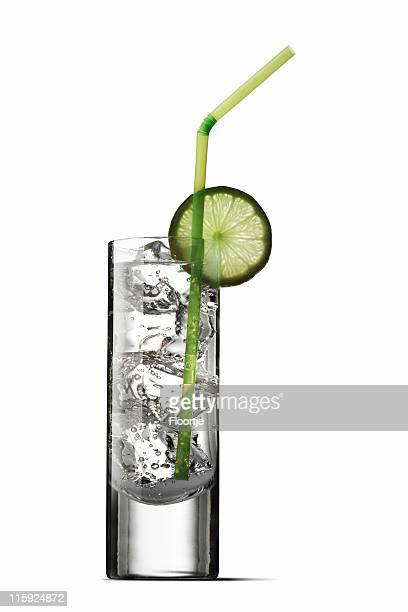 Drinks: Soda and Lime Isolated on White Background