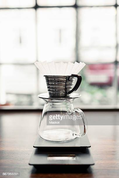 Drip coffee machine on counter at cafe