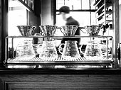 Drip coffee with blurred Barista background working in Restaurant cafe