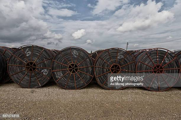 Drip irrigation pipes stored on wheels