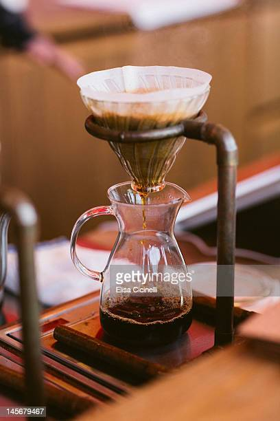 Drip-brewing filtered coffee