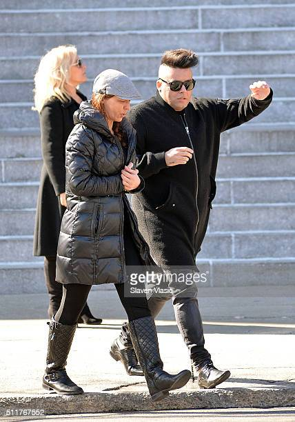 Drita D'Avanzo and Johnny Donovan attend the funeral service held for Angela 'Big Ang' Raiol on February 22 2016 in New York City 'Mob Wives' reality...