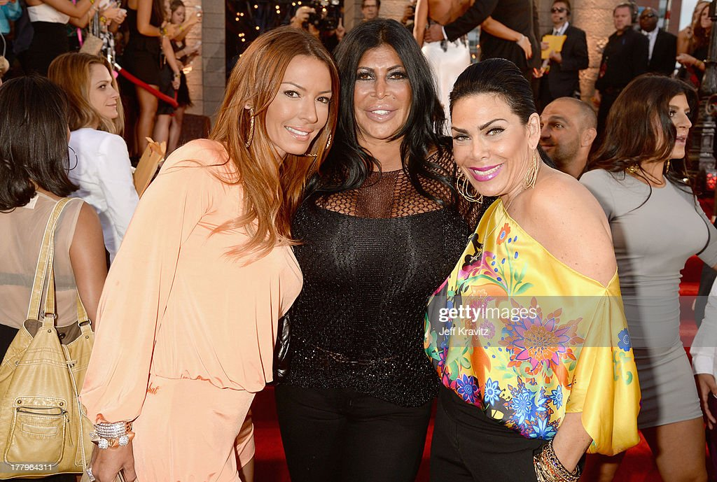 Drita Davanzo, Angela '<a gi-track='captionPersonalityLinkClicked' href=/galleries/search?phrase=Big+Ang&family=editorial&specificpeople=8749866 ng-click='$event.stopPropagation()'>Big Ang</a>' Raiola and <a gi-track='captionPersonalityLinkClicked' href=/galleries/search?phrase=Renee+Graziano&family=editorial&specificpeople=7643222 ng-click='$event.stopPropagation()'>Renee Graziano</a> attend the 2013 MTV Video Music Awards at the Barclays Center on August 25, 2013 in the Brooklyn borough of New York City.