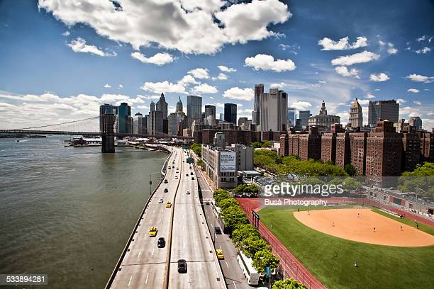 FDR Drive and the skyline of Lower Manhattan