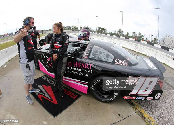 Drive for Diversity Combine participant Macy Causey waits at New Smyrna Speedway on October 17 2017 in New Smyrna Florida
