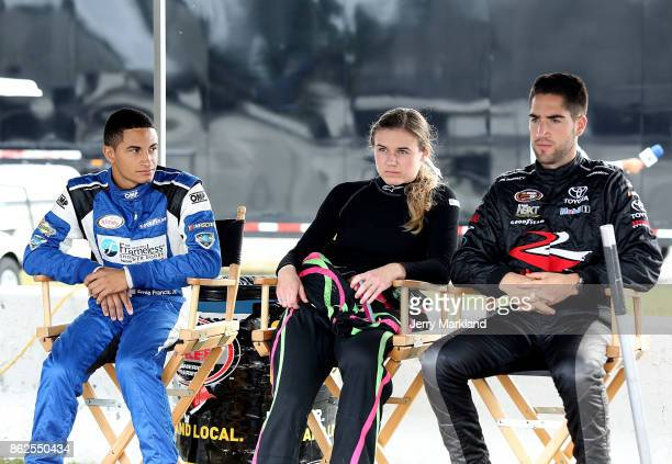 Drive for Diversity Combine participants Ernie Francis Jr McKenna Haase and Ruben Garcia Jr look on at New Smyrna Speedway on October 17 2017 in New...