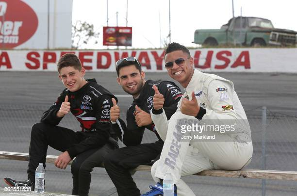 Drive for Diversity Combine participants Nicholas Sanchez Armani Williams and Chase Cabre look on at New Smyrna Speedway on October 17 2017 in New...