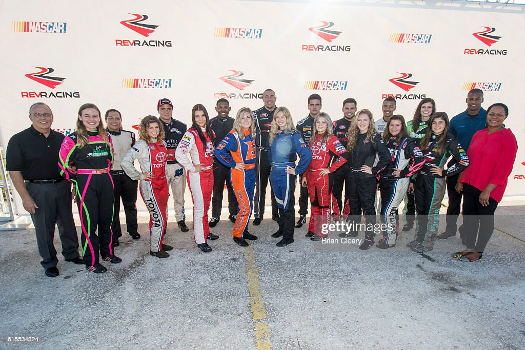 Drive for Diversity Developmental Program Combine participants pose for a group photo with NASCAR officials at New Smyrna Speedway on October 18, 2016 in New Smyrna Beach, Florida.