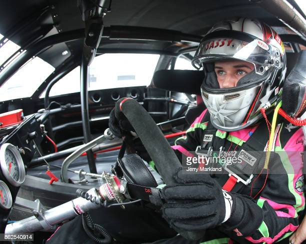 Drive for Diversity participant McKenna Haase waits in her car at New Smyrna Speedway on October 17 2017 in New Smyrna Florida