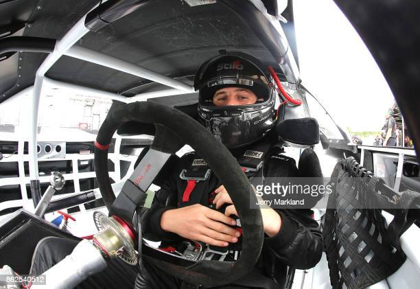 Drive for Diversity participant Nicholas Sanchez waits in his car at New Smyrna Speedway on October 17 2017 in New Smyrna Florida