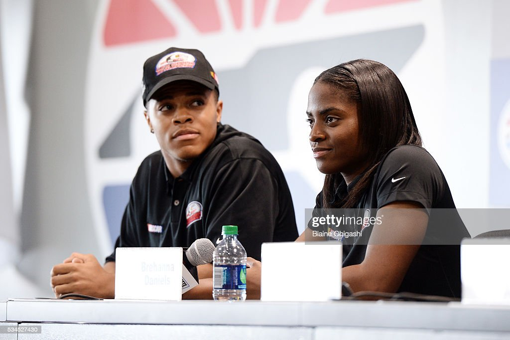 Drive for Diversity Pit Crew National Combine participants Joshua Tate and Brehanna Daniels speak to the press during practice for the NASCAR Sprint Cup Series Coca-Cola 600 at Charlotte Motor Speedway on May 27, 2016 in Charlotte, North Carolina.