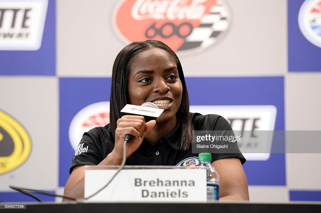 Drive for Diversity Pit Crew National Combinee participant Brehanna Daniels speaks to the press during practice for the NASCAR Sprint Cup Series Coca-Cola 600 at Charlotte Motor Speedway on May 27, 2016 in Charlotte, North Carolina.