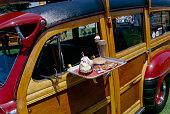 Drive-In Lunch on Classic Woodie Station Wagon