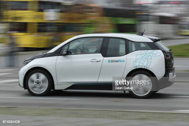 DriveNow car drives in the city center on November 14 2017 in Berlin Germany A number of companies have plunged into the market for sharing Berlin's...