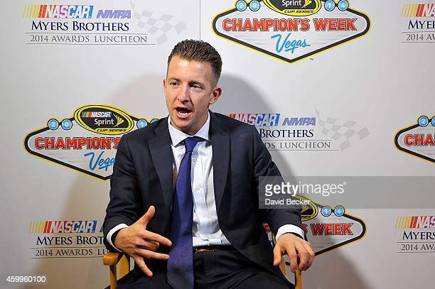 NASCAR driver A J Allmendinger answers questions during the 2014 NASCAR NMPA Myers Brothers Awards media availability on December 4 2014 at the...