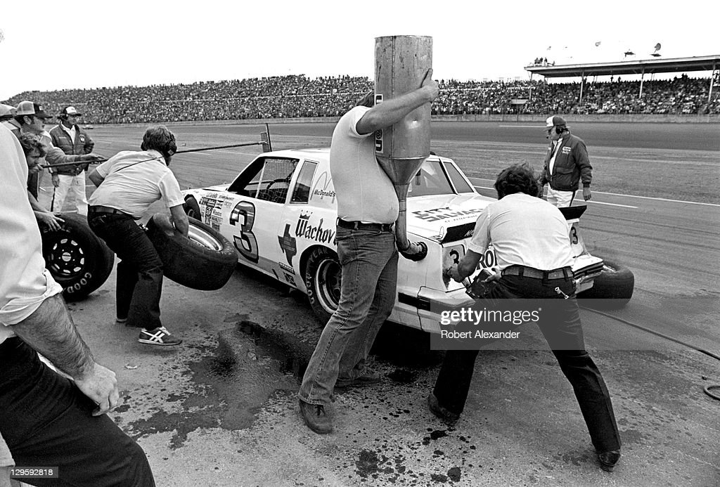 NASCAR driver and owner of the No 3 car Richard Childress makes a pit stop during the 1981 Daytona 500 at the Daytona International Speedway on...
