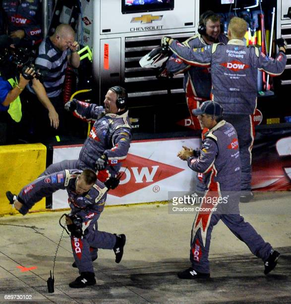 NASCAR driver Austin Dillon's team celebrates winning the CocaCola 600 at Charlotte Motor Speedway on Monday May 29 2017