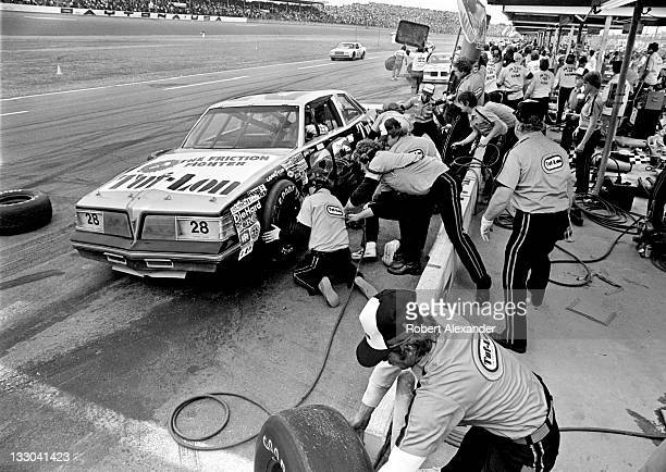 NASCAR driver Bobby Allison driving the Tuflon Buick owned by Harry Ranier makes a scheduled pit stop during the 1981 Daytona 500 at the Daytona...