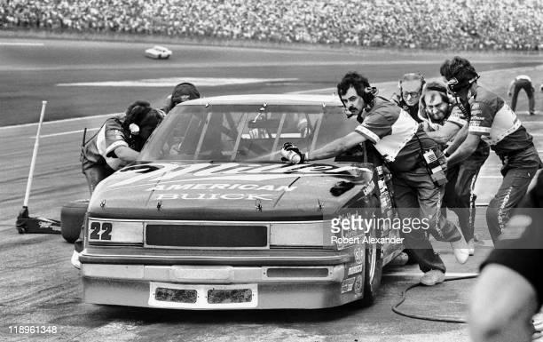 NASCAR driver Bobby Allison makes a pit stop during the 1987 Daytona 500 on February 15 1987 at the Daytona International Speedway in Daytona Beach...