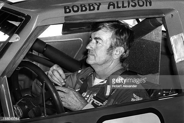 NASCAR driver Bobby Allison prepares for the start of the 1984 Daytona 500 on February 19 1984 at the Daytona International Speedway in Daytona Beach...