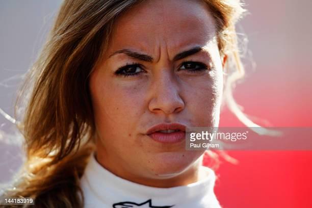 GP3 driver Carmen Jorda of Spain and Ocean Racing Technology walks in the paddock at the Circuit de Catalunya on May 11 2012 in Barcelona Spain