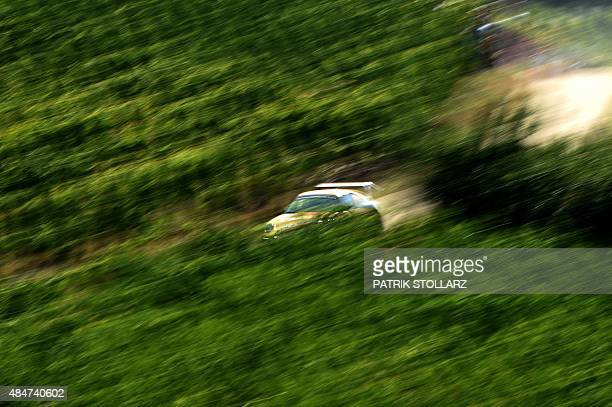 A driver competes during the FIA World Rally Championship of Germany in Trier western Germany on August 21 2015 AFP PHOTO / PATRIK STOLLARZ