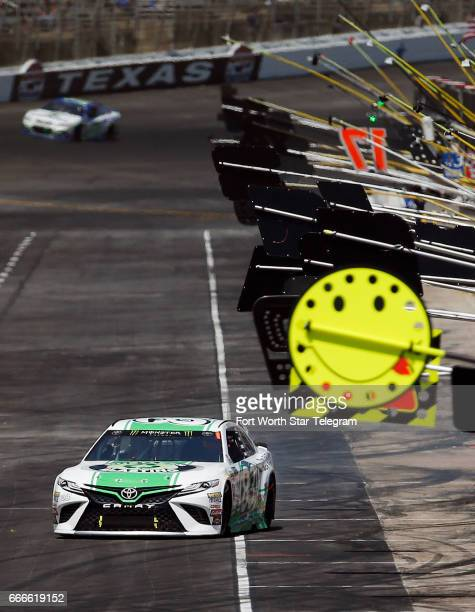 NASCAR driver Corey LaJoie leaves his pit box during the O'Reilly Auto Parts 500 on Sunday April 9 2017 at Texas Motor Speedway in Fort Worth Texas