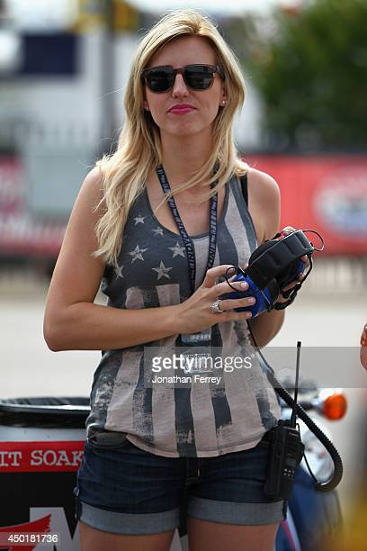 NHRA driver Courtney Force watches practice for the Verizon IndyCar Series Firestone 600 at Texas Motor Speedway on June 6 2014 in Fort Worth Texas