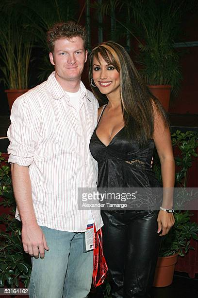 NASCAR driver Dale Earnhardt Jr and television personality Leeann Tweeden pose backstage during the 2005 Hooters International Swimsuit Pageant at...