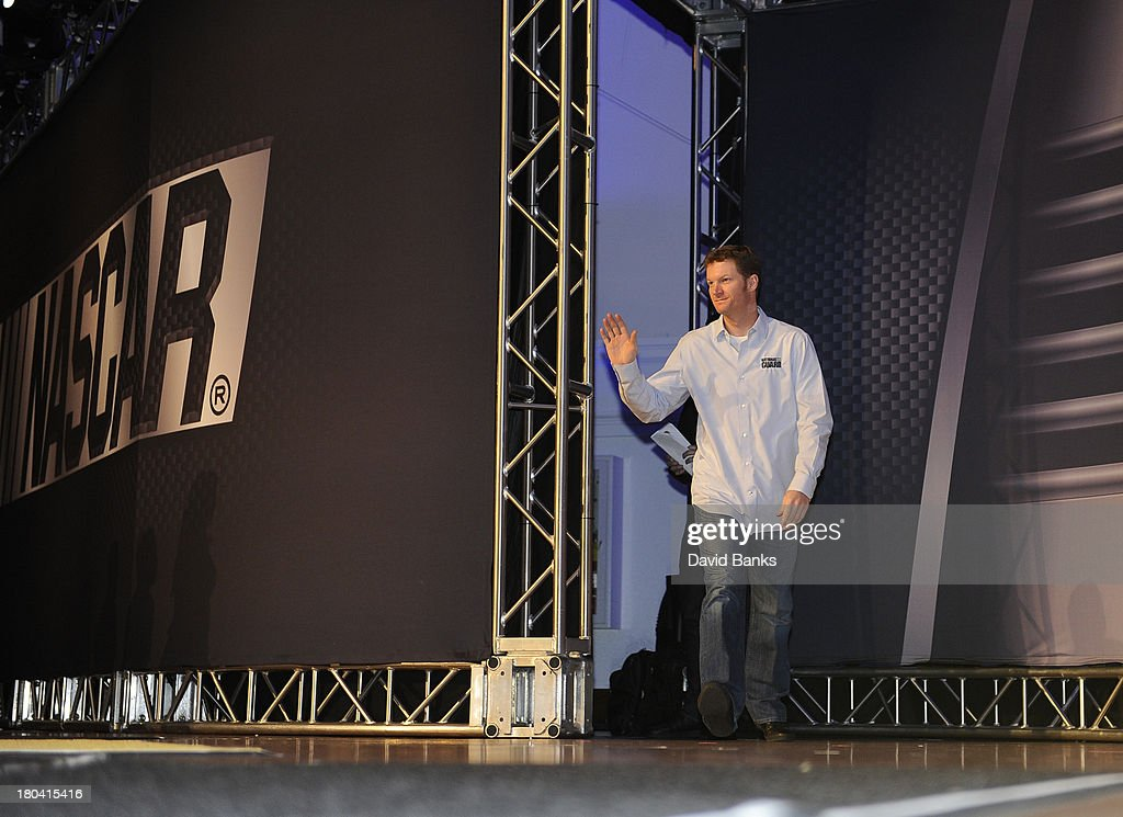 NASCAR driver Dale Earnhardt Jr. is introduced during the Chase for the Sprint Cup Contenders Live on September 12, 2013 in Chicago, Illinois.