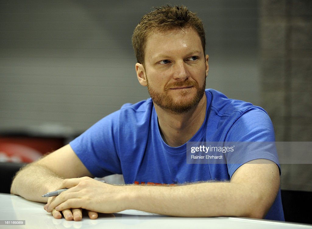 NASCAR driver <a gi-track='captionPersonalityLinkClicked' href=/galleries/search?phrase=Dale+Earnhardt+Jr.&family=editorial&specificpeople=171293 ng-click='$event.stopPropagation()'>Dale Earnhardt Jr.</a> looks on during the NASCAR Preview at the NASCAR Hall of Fame on February 9, 2013 in Charlotte, North Carolina.