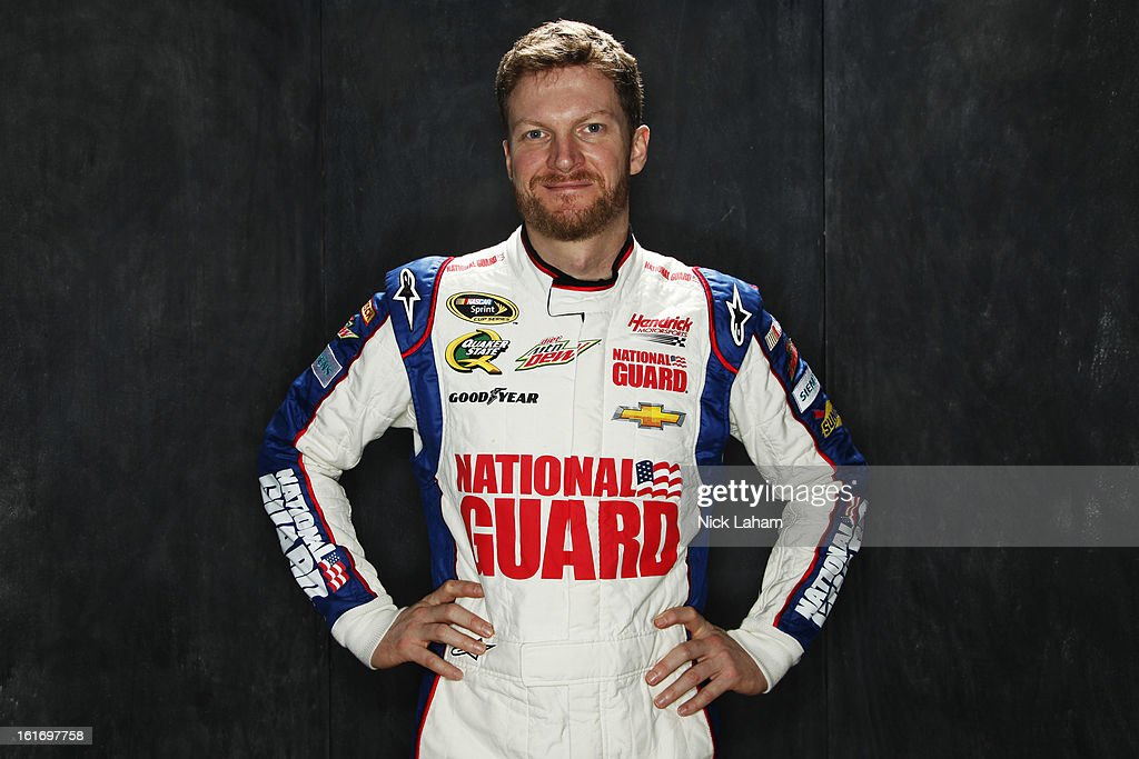 Driver <a gi-track='captionPersonalityLinkClicked' href=/galleries/search?phrase=Dale+Earnhardt+Jr.&family=editorial&specificpeople=171293 ng-click='$event.stopPropagation()'>Dale Earnhardt Jr.</a> poses during portraits for the 2013 NASCAR Sprint Cup Series at Daytona International Speedway on February 14, 2013 in Daytona Beach, Florida.