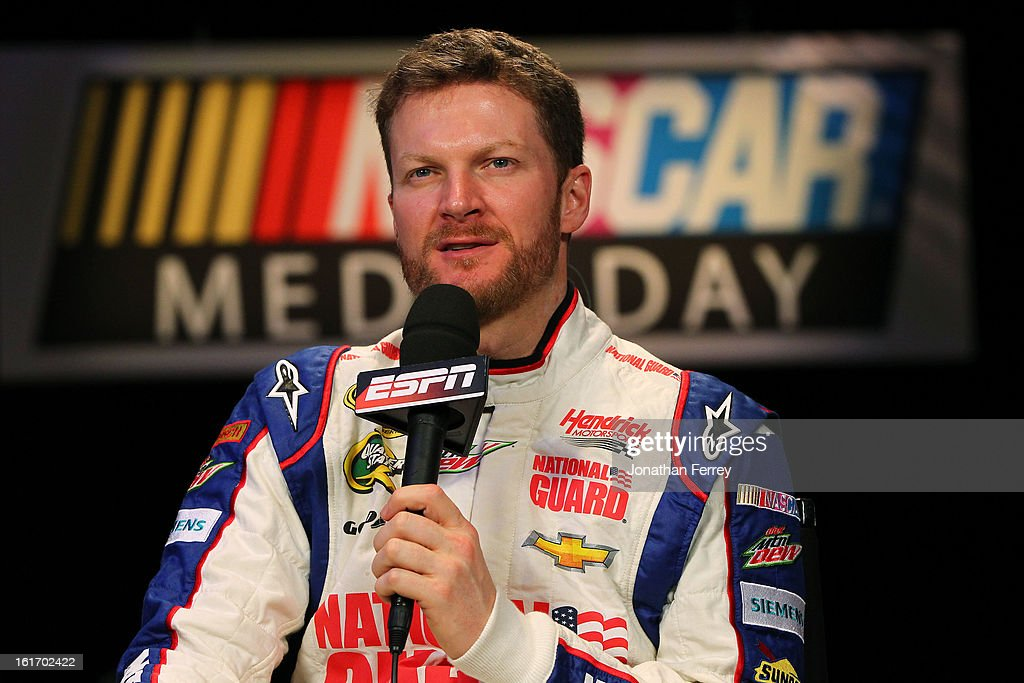Driver <a gi-track='captionPersonalityLinkClicked' href=/galleries/search?phrase=Dale+Earnhardt+Jr.&family=editorial&specificpeople=171293 ng-click='$event.stopPropagation()'>Dale Earnhardt Jr.</a> speaks to the media during the 2013 NASCAR media day at Daytona International Speedway on February 14, 2013 in Daytona Beach, Florida.