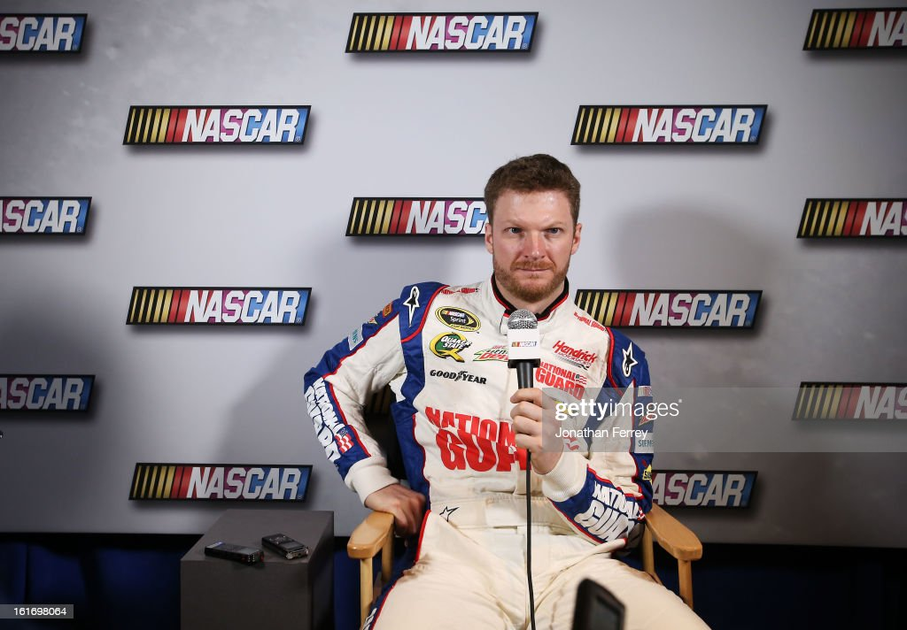 Driver <a gi-track='captionPersonalityLinkClicked' href=/galleries/search?phrase=Dale+Earnhardt+Jr.&family=editorial&specificpeople=171293 ng-click='$event.stopPropagation()'>Dale Earnhardt Jr.</a> speaks to the media duringk the 2013 NASCAR media day at Daytona International Speedway on February 14, 2013 in Daytona Beach, Florida.