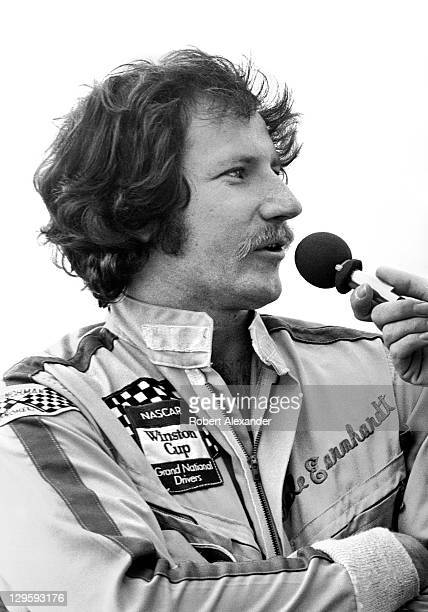 NASCAR driver Dale Earnhardt Sr is interviewed during prerace activities at the 1982 Daytona 500 on February 14 1982 at the Daytona International...